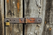 modern-lock-on-old-wood by terry-walters